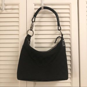 Gucci small black canvas leather monogram hobo